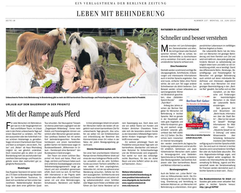 Fotografie des Artikels in der Berliner Zeitung