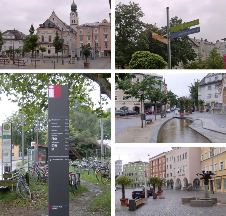 Fotocollage von Beispielen an Orientierungstafeln in Rosenheim