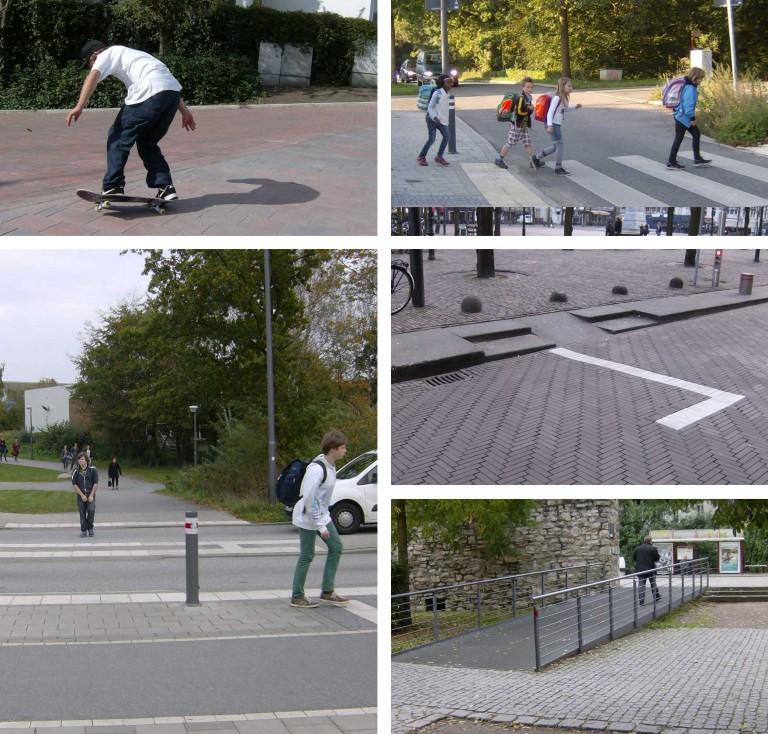 Fotocollage an Beispielen für Hilfen für Fußgänger