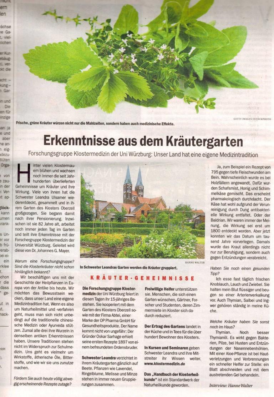 Fotografie des Artikels in der Berliner Zeitung, Beilage Kur & Vital vom 7.10.2014