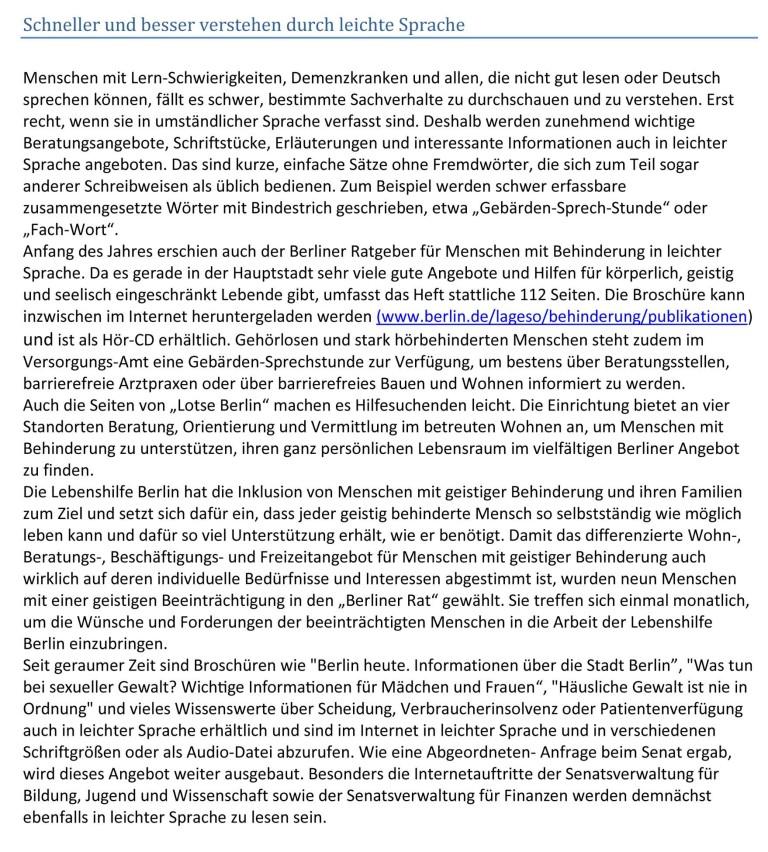 Fotografie des Artikels in der Berliner Zeitung vom 16. Juni 2014