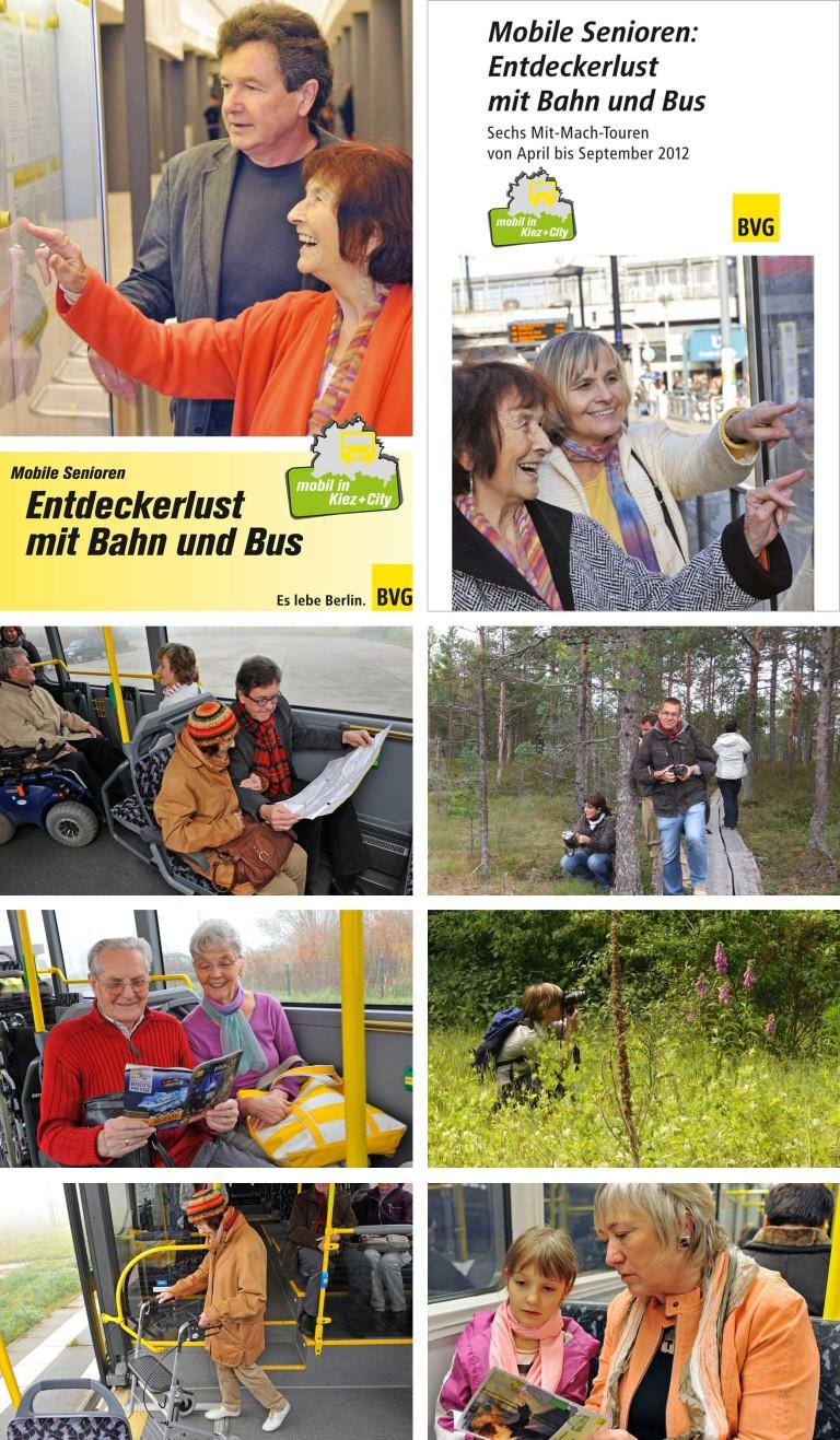 Fotocollage über Beispiele für Entdeckertouren mit der BVG und Menschen mit Behinderungen
