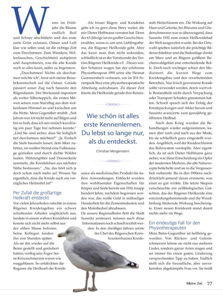 Fotografie des Artikels in der Zeitschrift Meine Zeit