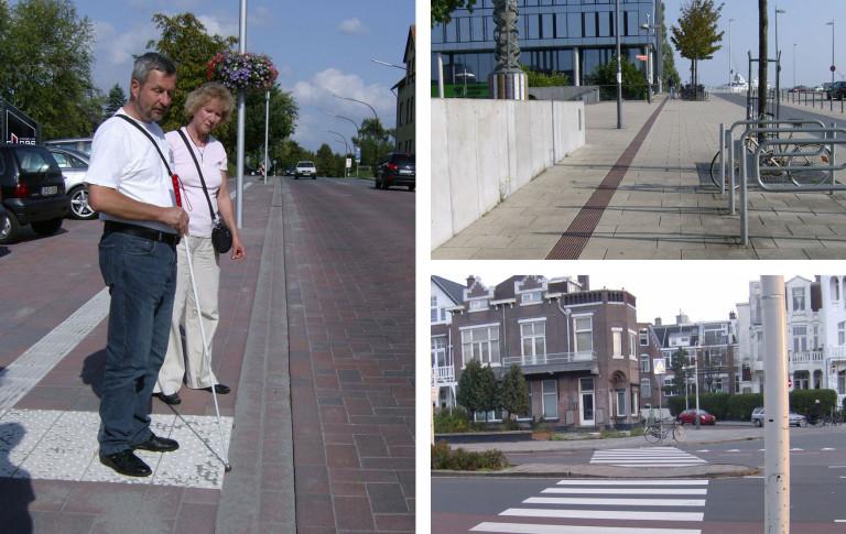 Fotocollage an Beispielen für Hilfen in der Stadt für ältere und blinde Fußgänger