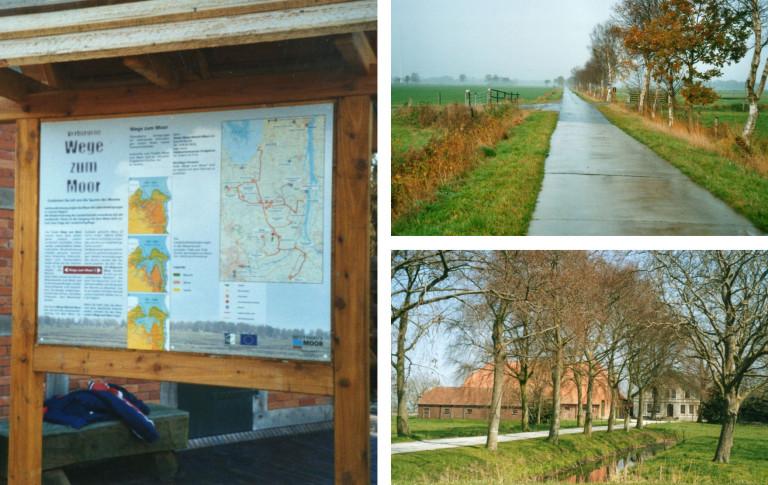 Fotocollage an Beispielen zu Orientierungshilfen im Naturpark