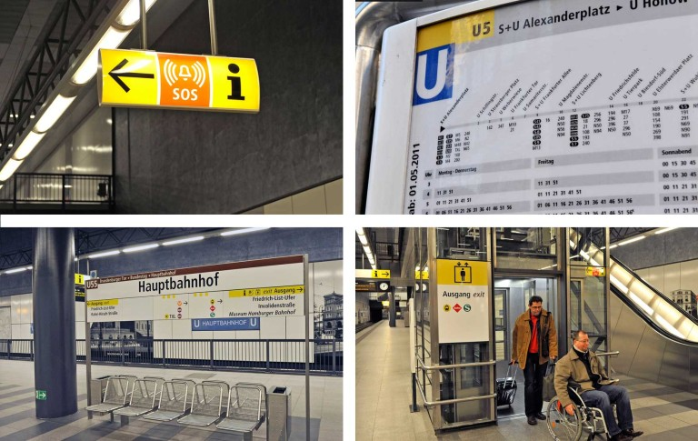Informationsschilder in Berliner U-Bahnhöfen